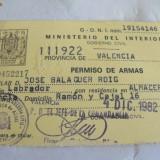 PERMIS de PORT-ARM - SPANIA 1982