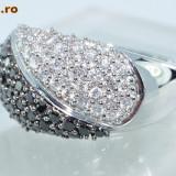 Inel aur alb 14K cu diamante albe si negre 1CT!!!! superb si ieftin, 46 - 56