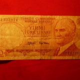 Bancnota 20 Lire Turcia 1970, cal.medie