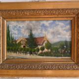 Gara Bistrita 1901, pictura veche in ulei pe panza - Pictor roman, Peisaje, Altul