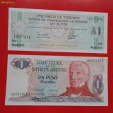 Bancnota Straine, America Centrala si de Sud - Lot 2 bancnote Argentina 1 peso 1983 1 austral Tucuman 1991 UNC necirculate