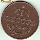 Austria EIN 1 KREUZER 1816 A, SUPERBA, XF, Europa