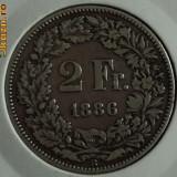2 franci 1886 Elvetia, argint