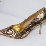 Pantofi de gala pentru femei, aurii, - (CHIARA 8815-8 gold) REDUCERE EXCEPTIONALA DE PRET - Pantofi dama, Marime: 36, Culoare: Auriu, Auriu