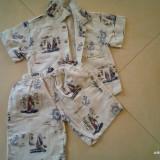 Vand costum de vara, copii 3 la 4 ani, bumbac, 2 piese, Marime: XXS, Culoare: Crem, Compleuri