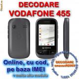 DECODARE VODAFONE 455, ONLINE, PE IMEI *** Trimit codul pe mail, Y, Skype etc. *** PRET PROMOTIONAL *** FARA PLATA IN AVANS - Decodare telefon, Garantie