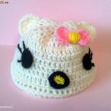Caciula Copii - Caciulita Hello Kitty crosetata