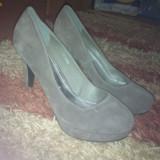 Pantofi dama, 37 1/3, Argintiu - Pantofi piele intoarsa