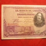 Bancnota Straine - Bancnota 50 Pesetas 1928 SPANIA, serie B - Republicana