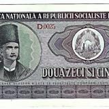 1.Bancnota 25 lei 1966, UNC