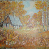 TABLOU-pictura CASUTA IN MESTECENI