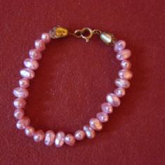 BRATARA DIN PERLE ROZ PE UN RAND - Bratara perle