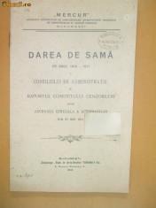 """Carte Editie princeps - Darea de seama Soc. manufactura,, MERCUR"""" Buc. 1911"""