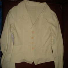 Costum in sacou si pantalon, marime S - Costum dama, Costum cu pantaloni, Argintiu