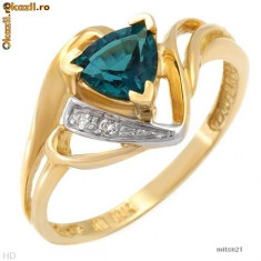 Inel aur, 46 - 56 - Nice [Inel] Ring With Diamonds and Cr.Emerald