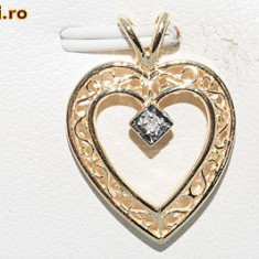 ocazie pandantiv inimioara aur galben 14K cu diamant natural