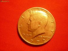 Monede Straine - 1/2 Dolar 1972 SUA, lit.D, aproape NC, metal alb, d=3cm.