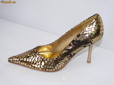 Pantofi dama, Auriu - Pantofi de gala pentru femei, aurii, - (CHIARA 8815-8 gold) REDUCERE EXCEPTIONALA DE PRET