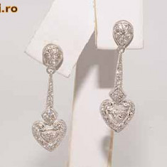 Superbi cercei aur alb 18K cu diamante naturale 0.86CT 5gr foarte ieftini