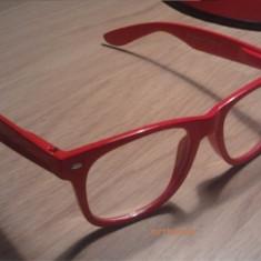 Ochelari tocilar Lentile Transparente Wayfarer Rame Rosii