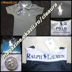 TRICOU firma brand POLO by RALPH LAUREN COPII VARSTA peste 12 ANI GRI SOBOLAN cu ALB BUMBAC 100% TRICOURI BAIETEI COLECTIE NOUA, Baieti
