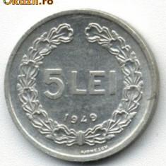 Monede Romania - 5 LEI 1949, STARE APROAPE NECIRCULATA
