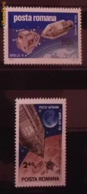 Timbre filatelice de colectie nestampilate Romania, Cosmos, Apollo 9 si 10, 1969, LP 702 foto