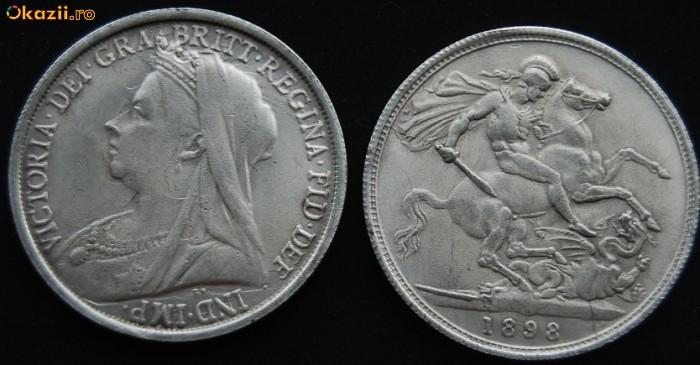 Moneda 1898 VICTORIA DEI GRA BRITT REGINA FID DEF IND IMP foto mare