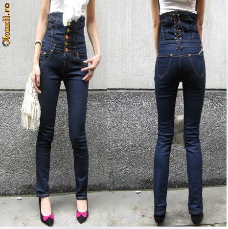 Jeans cu talie inalta foto mare