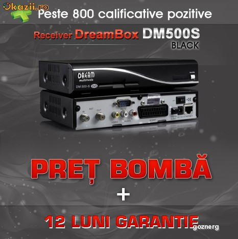 Dreambox DM500S DM 500 DM500 All Black *Super Oferta!! 12Luni Garantie + Sharing 30 zile GRATUITE!!! foto mare
