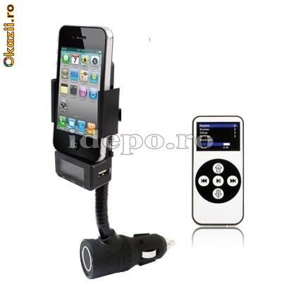 Car kit hands free iPhone cu modulator FM foto mare