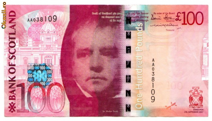 Scotia - 100 pounds (lire) 2007 - Bank of Scotland fo
