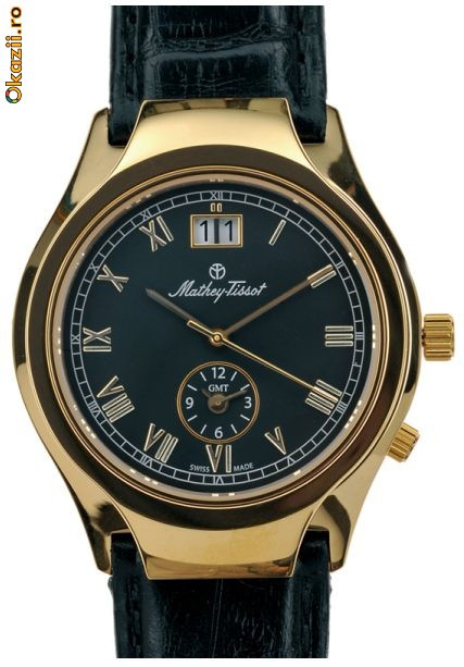 Majestic Dual Time, man's, gold plated ~ Mathey-Tissot ~ Since 1886. Swiss Made. New, 3yw foto mare