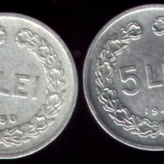 * Lot 2 monede 5 lei 1949 1950 - Moneda Romania
