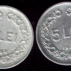 * Lot 2 monede 5 lei 1949 1950 - Moneda Romania