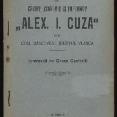 Carte Editie princeps - Stautul Bancii A. I. Cuza din com. Bascoveni, jud. Vlasca, 1911