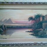 Tablou anii 1930, peisaj in ulei pe carton-PIRAMIDE - Pictor roman