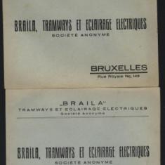 2 plicuri interbelice, Braila, Tramways et eclairage electriques - Plic Papetarie
