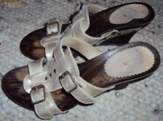 Sandale dama - Saboti de vara, culoare aurie, din piele marimea 36, 5 - 37