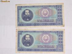 Bancnote Romanesti - 100 LEI 1966 - 2 buc. SERIE CONSECUTIVA #3 VF spre ExF