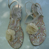 SANDALE BEJ FLOARE NOI, 40 - Sandale dama, 37 1/3, Bej
