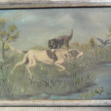 Scena de vanatoare cu caini, tablou 70 x 50 cm, pictura in ulei - Pictor roman, Animale, Realism