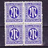 Timbre Germania 1945/*MI.9 = ZONA ANGLO - AMERICANA Bloc 4 Nestampilate