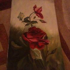 Tablou din perioada interbelica, motive florale, pictat pe panza in ulei - Pictor roman, Natura moarta, Realism