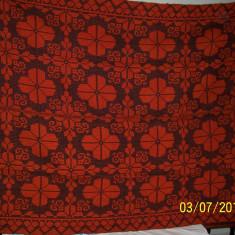 Covor vechi - COVOR / COVERTURA / PLED din lana traditional autentic taranesc, tesut manual la razboi, rosu-portocaliu, Ardeal/ Transilvania-Alba, 1950, NOU