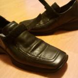 Pantofi dama din piele, negri, marimea 36, Marime: 36, Negru