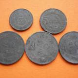 Nr 4  LOT MONEDE de zinc  2 lei 1941, 5 lei 1942, 20 lei 1942, 20 lei 1943, 20 lei 1944