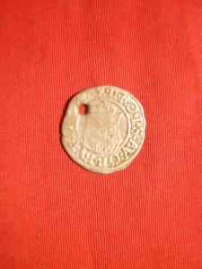 Denar Ungaria 1577, argint , gaurit ,d= 1,5 cm foto