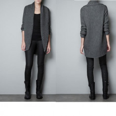 Pulover cardigan ZARA KNIT gen sweater jacheta paltonas gri inchis toamna nou cu eticheta, M28 merge si la S TRANSP GRATIS LA PLATA IN AVANS - Pulover dama Zara, Marime: S/M, Bumbac