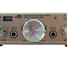 AMPLIFICATOR AUDIO CU SLOT DE CARD SI STICK USB PUTERE 50 W